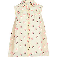 Girls cream and pink spot shirt