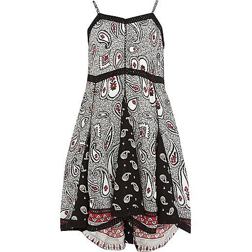 Girls black paisley dress