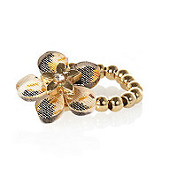 Girls gold tone leopard flower ring