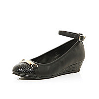 Girls black wedge ballerina shoes