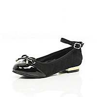 Girls black ankle strap ballerina shoes