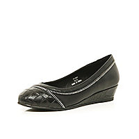 Girls black zip wedge ballerina shoes