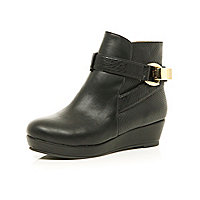 Girls black wedge strap boots