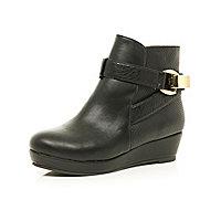 Girls black wedge strap boots