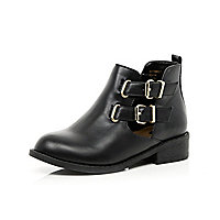 Girls black double buckle boots