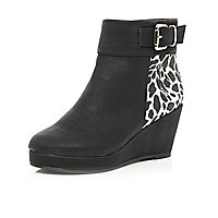 Girls black leopard print wedge boots