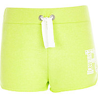 Girls lime green runner shorts