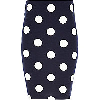 Girls navy polka dot tube skirt