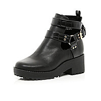 Girls black chunky cut out boots