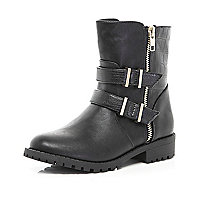 Girls black double buckle biker boots