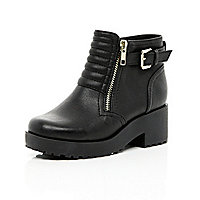 Girls black chunky quilted boots