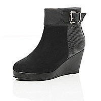 Girls black wedge boots