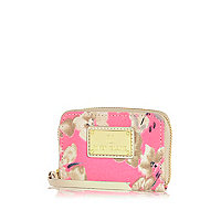 Girls pink floral coin purse