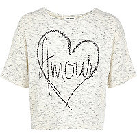 Girls grey embellished Amour t-shirt