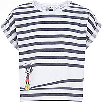 Girls grey stripe peekaboo Mickey t-shirt