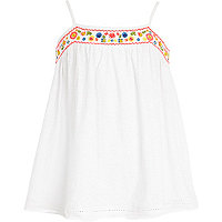 Girls white embroidered cami top