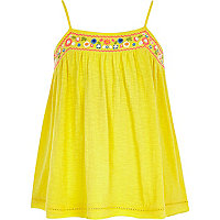 Girls yellow embroidered cami top