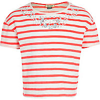 Girls pink stripe embellished top