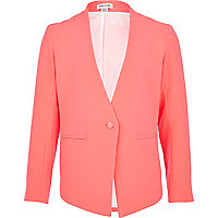 Girls bright pink vintage crepe blazer