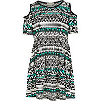 Girls black aztec print cut out dress