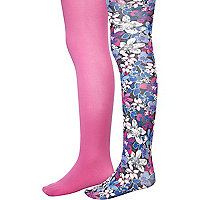Girls black floral and pink two pack tights