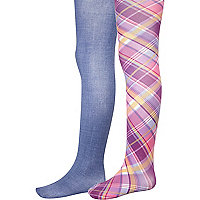 Girls pink check and denim two pack tights