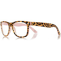 Girls brown leopard print geek glasses