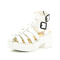 Girls white block heel strappy sandals