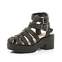 Girls black block heel strappy sandals