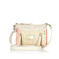 Girls cream mini messenger bag