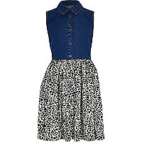Girls denim and animal print hybrid dress