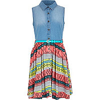 Girls denim aztec pastel hybrid dress