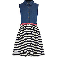 Girls denim and heart print hybrid dress