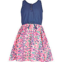Girls denim and pink hybrid aztec dress