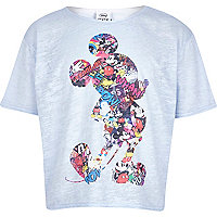Girls blue Mickey Mouse print cropped t-shirt