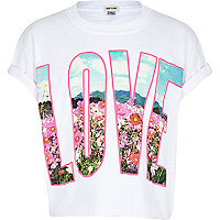 Girls white love meadow print t-shirt