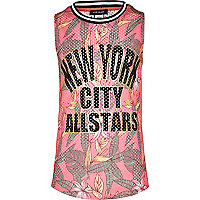 Girls pink mesh basketball tank top