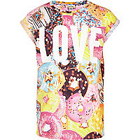 Girls pink doughnut love print t-shirt
