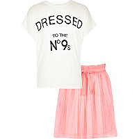 Girls white t-shirt and pink tutu set