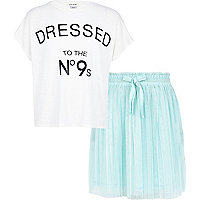 Girls white t-shirt and blue tutu set