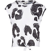 Girls white animal print tie up t-shirt