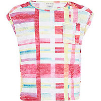 Girls pink check print burnout crop t-shirt