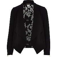 Girls black waterfall lace back cardigan