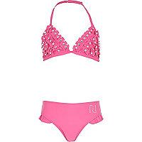 Girls pink bow bikini