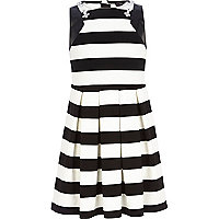 Girls black stripe embellished skater dress