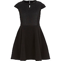 Girls black snake skater dress