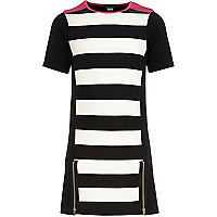 Girls black stripe shift dress