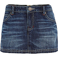 Girls blue mid wash denim skort