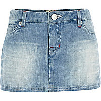 Girls blue light wash denim skort
