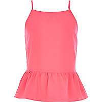 Girls pink bow back peplum cami top